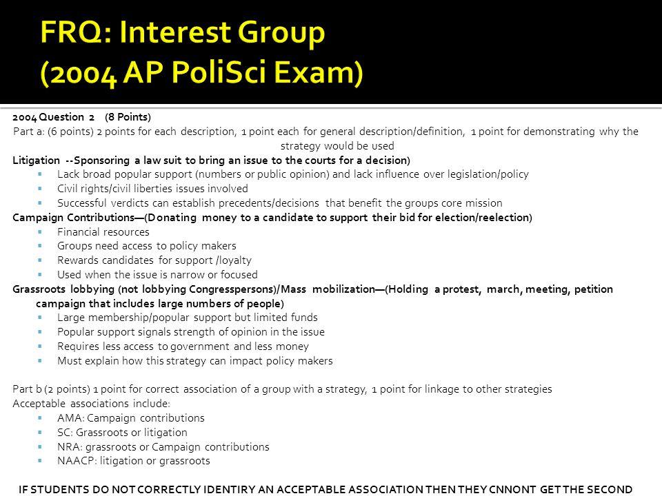 FRQ: Interest Group (2004 AP PoliSci Exam) 2004 Question 2 (8 Points)