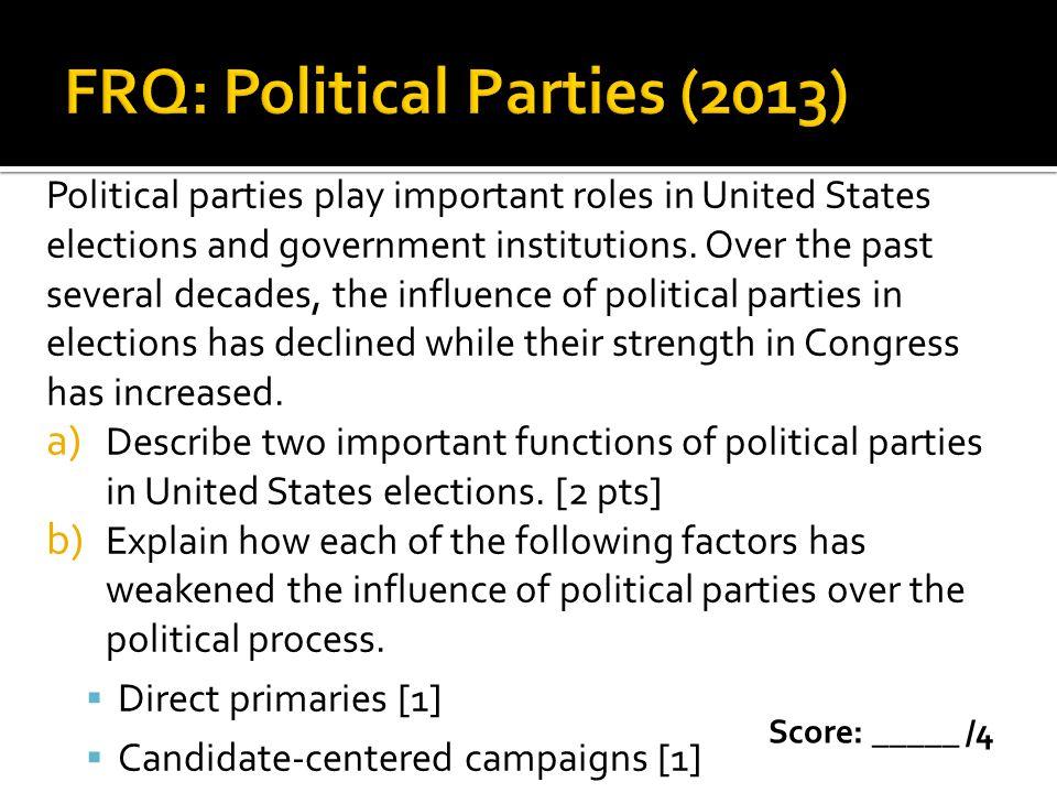 FRQ: Political Parties (2013)