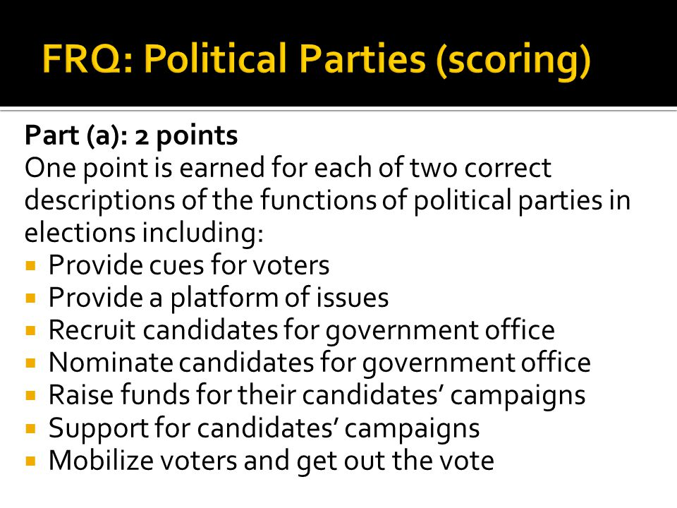 FRQ: Political Parties (scoring)