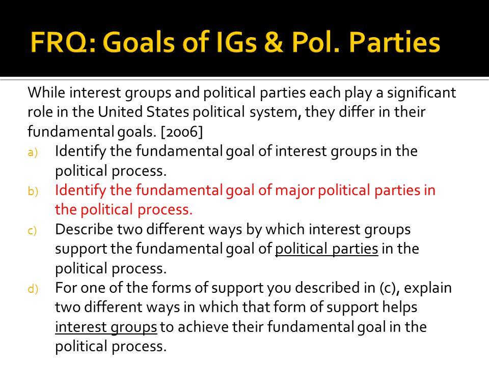 FRQ: Goals of IGs & Pol. Parties