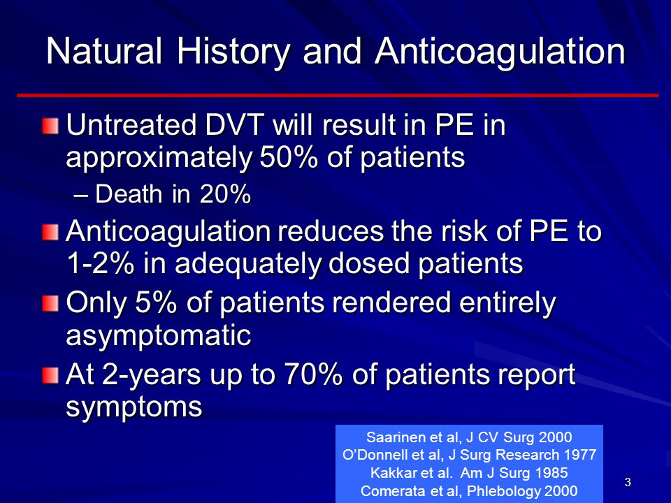 Natural History and Anticoagulation