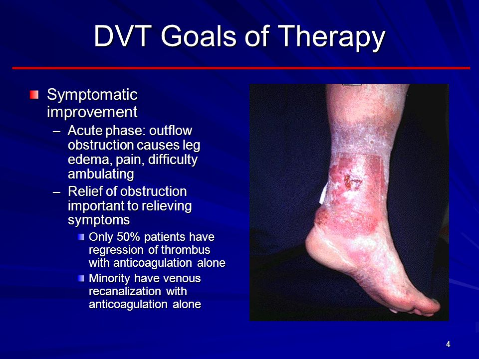 DVT Goals of Therapy Symptomatic improvement