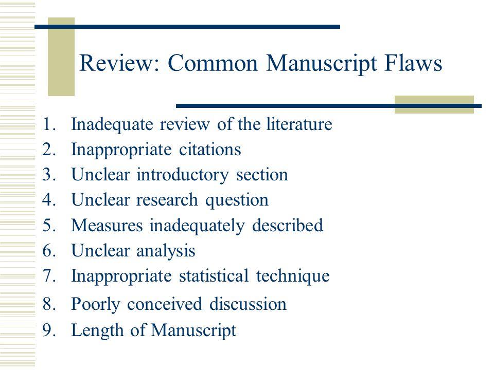 Review: Common Manuscript Flaws