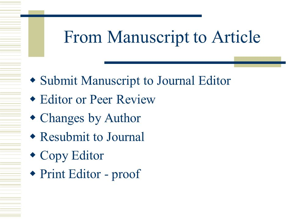 From Manuscript to Article