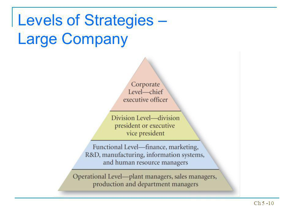 Levels of Strategies – Large Company