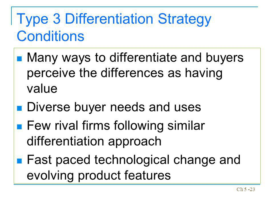 Type 3 Differentiation Strategy Conditions