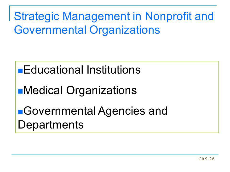 Strategic Management in Nonprofit and Governmental Organizations