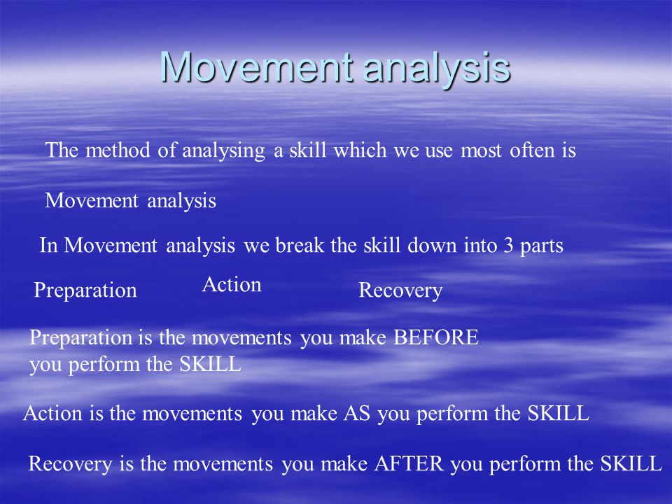 Movement analysis The method of analysing a skill which we use most often is. Movement analysis.