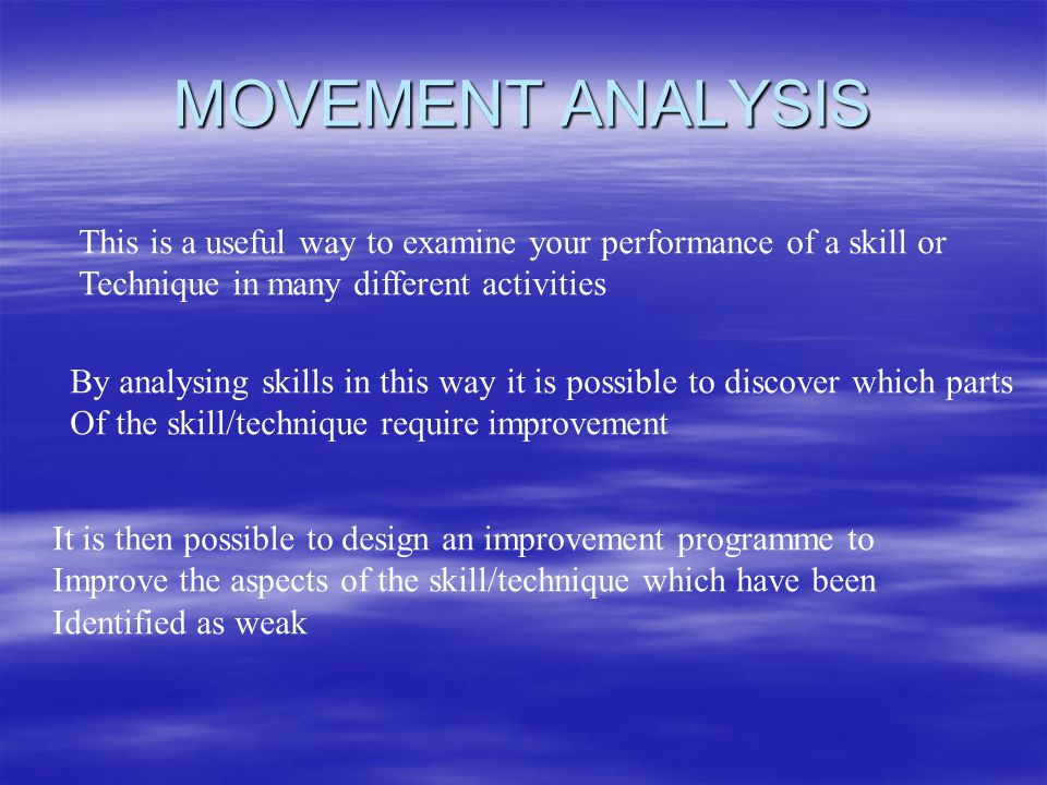 MOVEMENT ANALYSIS This is a useful way to examine your performance of a skill or. Technique in many different activities.