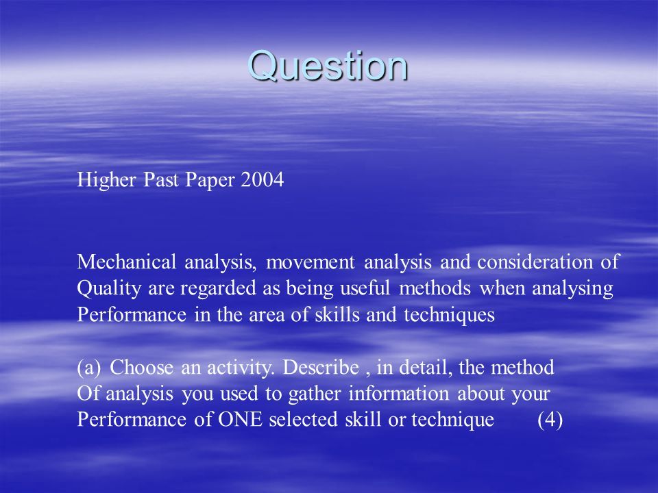 Question Higher Past Paper 2004