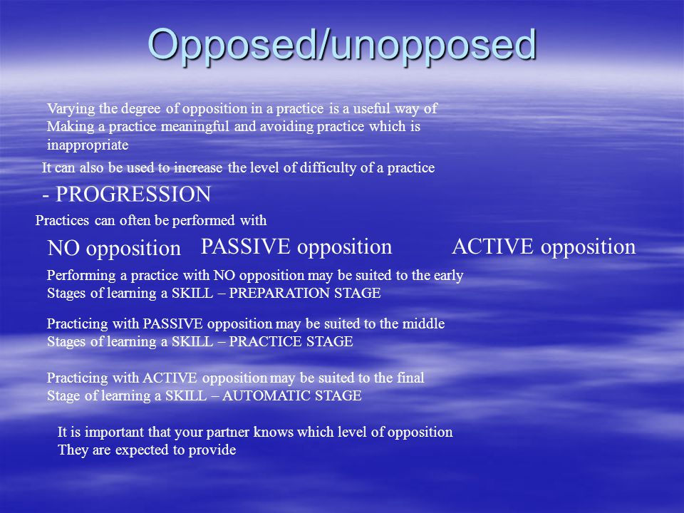 Opposed/unopposed - PROGRESSION NO opposition PASSIVE opposition