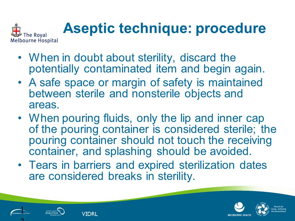 Aseptic technique: procedure