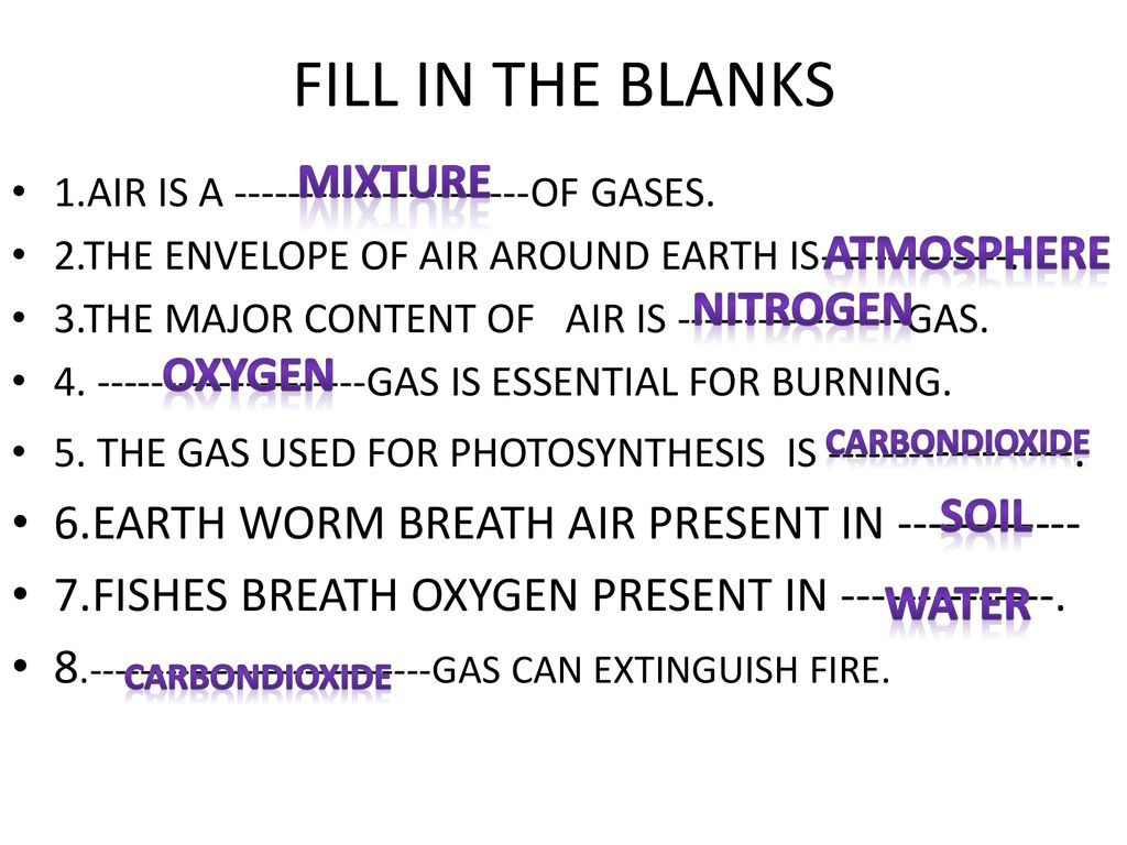 FILL IN THE BLANKS MIXTURE ATMOSPHERE NITROGEN