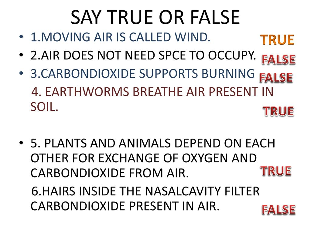SAY TRUE OR FALSE TRUE 1.MOVING AIR IS CALLED WIND.
