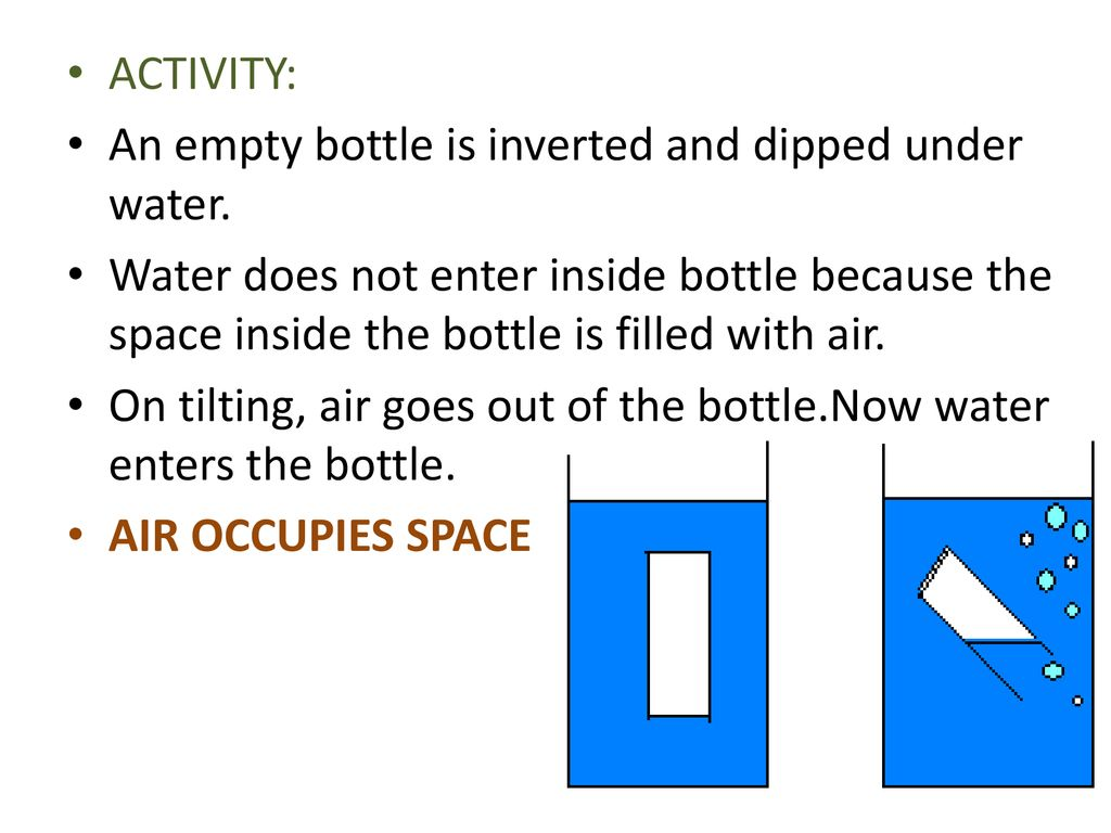 ACTIVITY: An empty bottle is inverted and dipped under water.