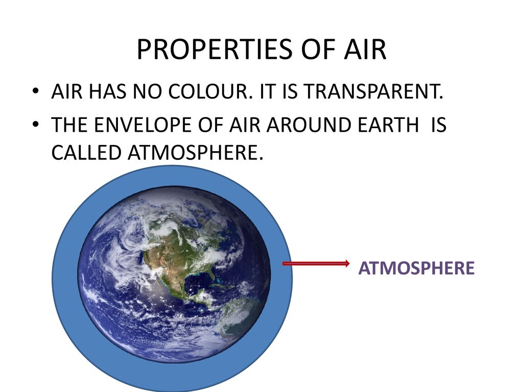 PROPERTIES OF AIR AIR HAS NO COLOUR. IT IS TRANSPARENT.