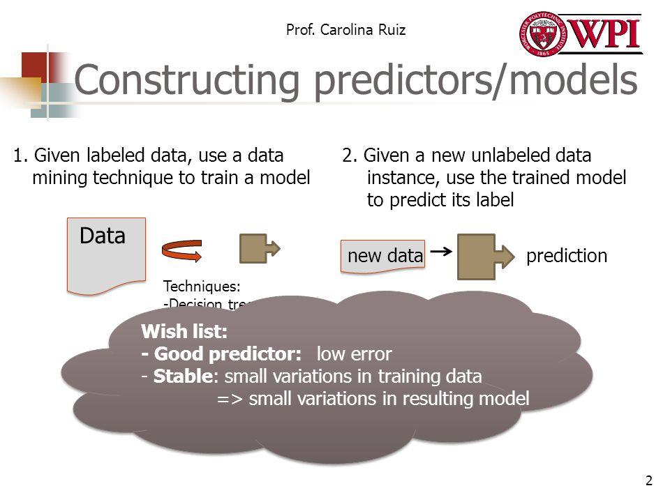 Constructing predictors/models