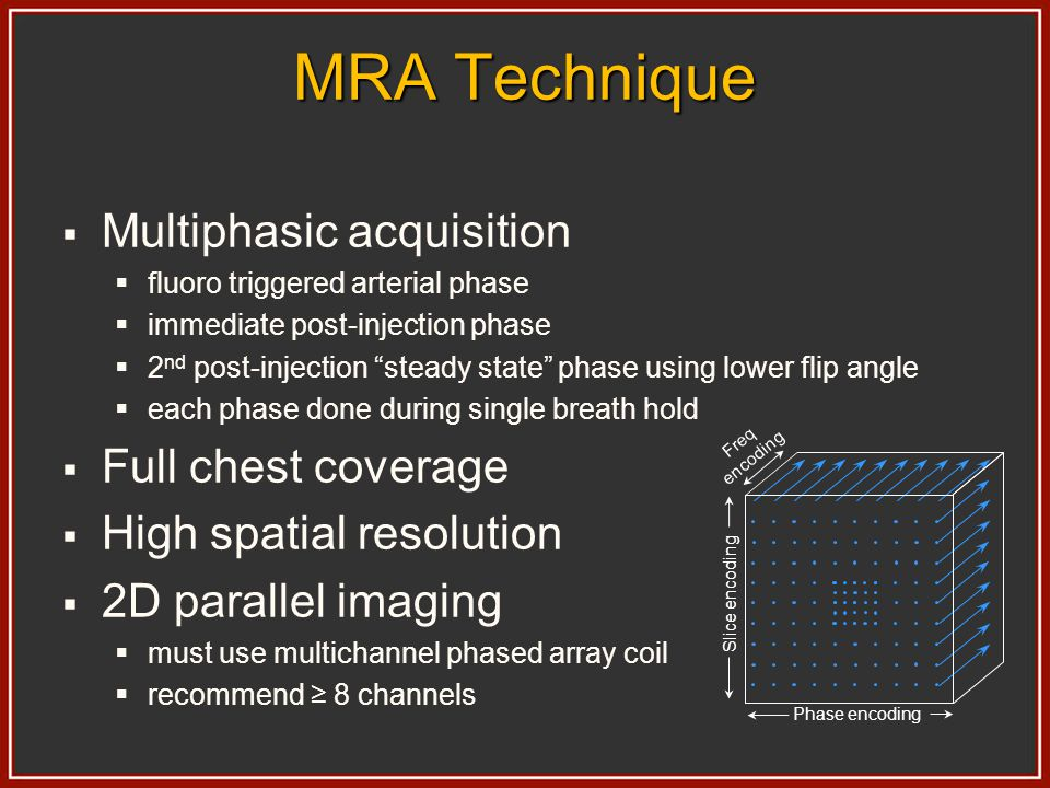 MRA Technique Multiphasic acquisition Full chest coverage