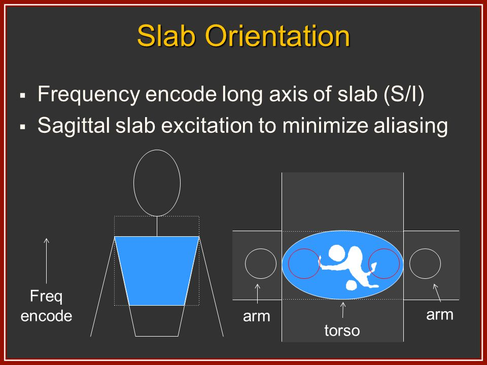 Slab Orientation Frequency encode long axis of slab (S/I)
