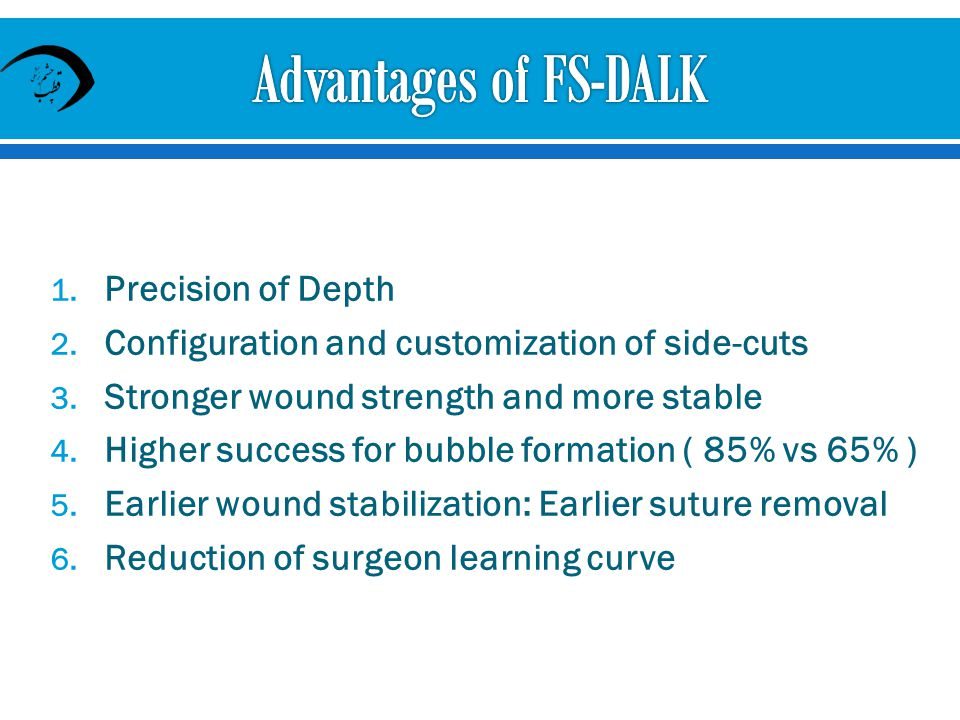 Advantages of FS-DALK Precision of Depth