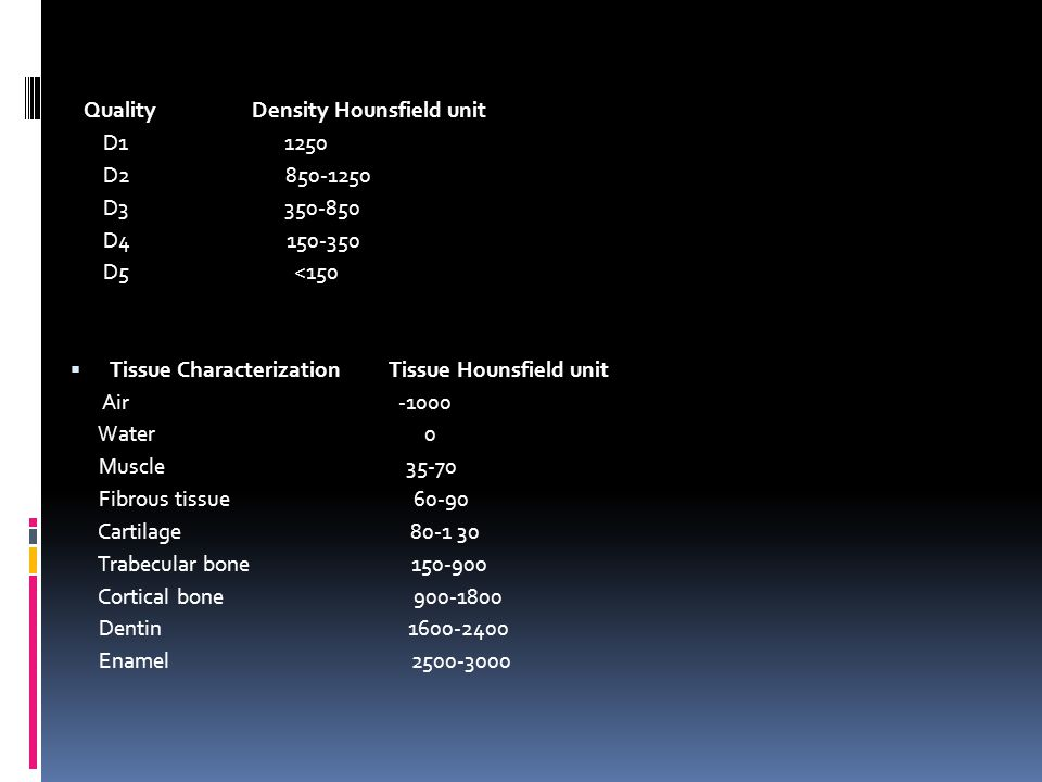 Quality Density Hounsfield unit