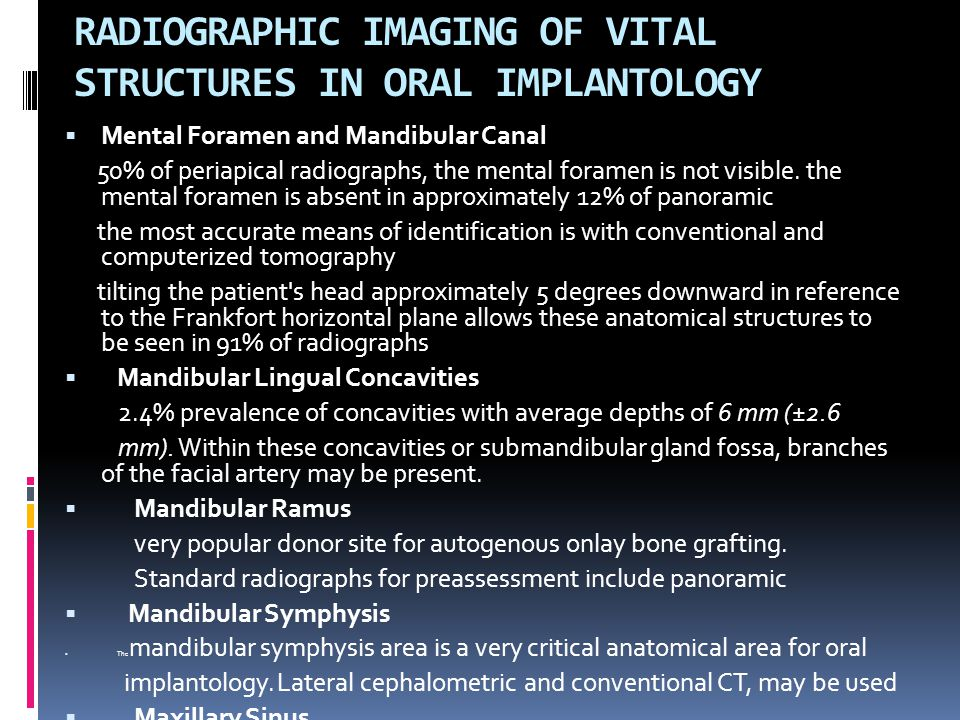 RADIOGRAPHIC IMAGING OF VITAL STRUCTURES IN ORAL IMPLANTOLOGY