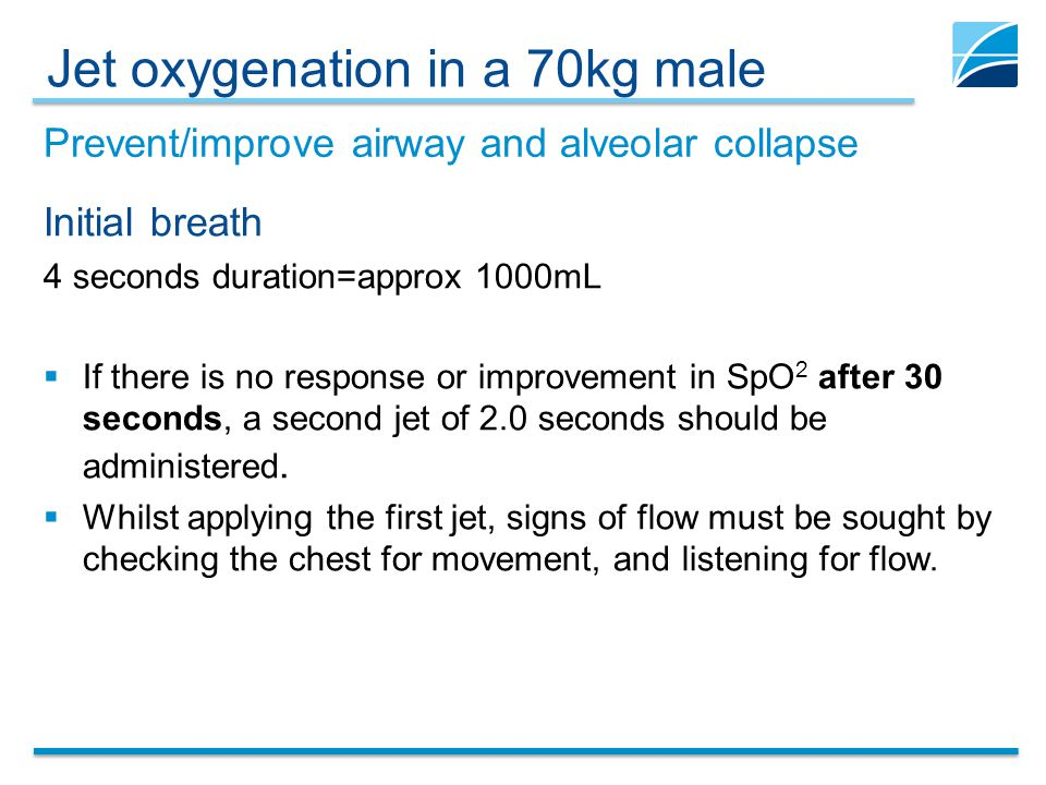 Jet oxygenation in a 70kg male