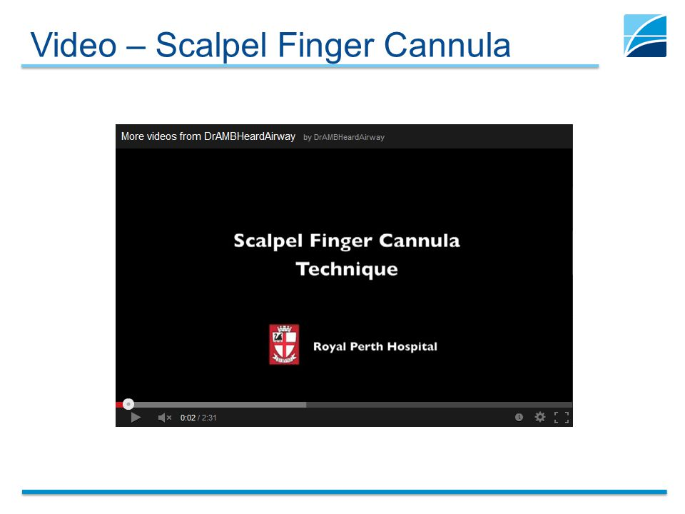 Video – Scalpel Finger Cannula