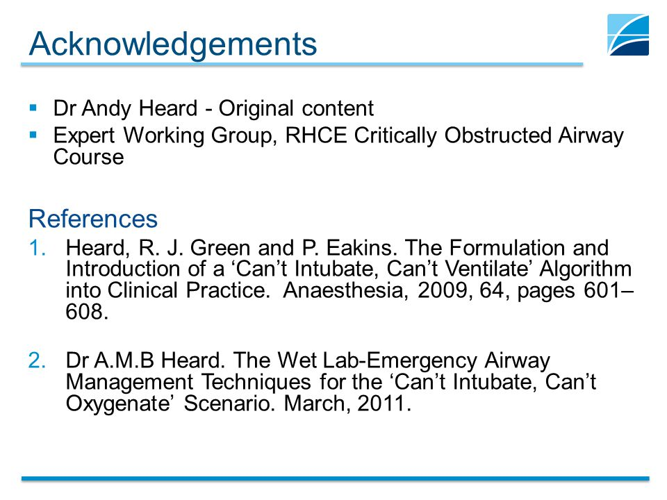 Acknowledgements References Dr Andy Heard - Original content