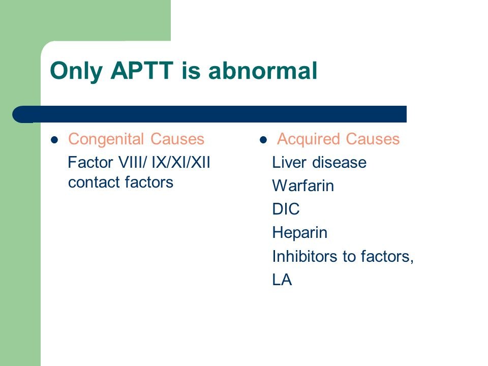 Only APTT is abnormal Congenital Causes