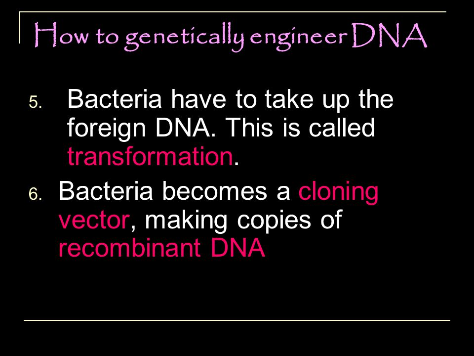 How to genetically engineer DNA