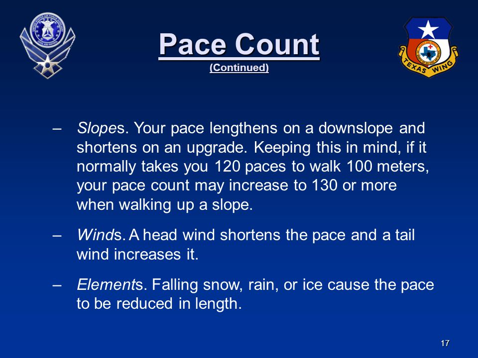 Pace Count (Continued)