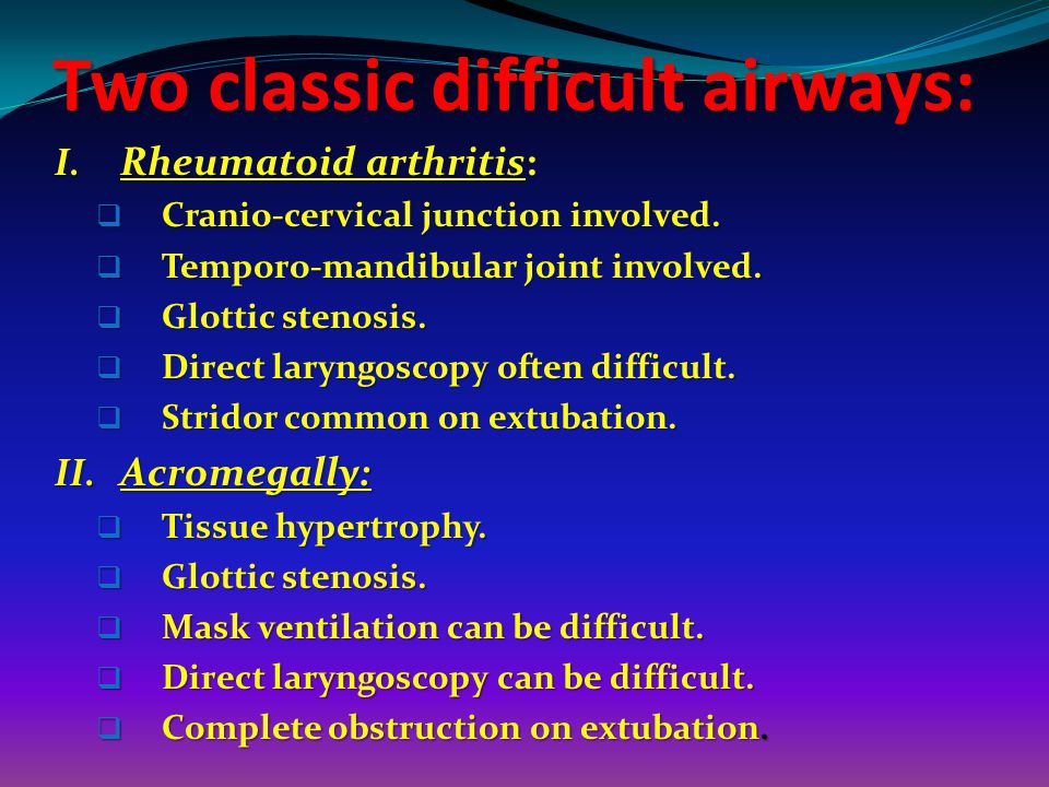 Two classic difficult airways: