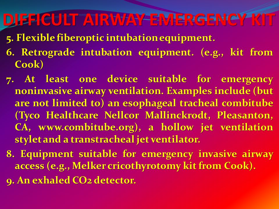 DIFFICULT AIRWAY EMERGENCY KIT