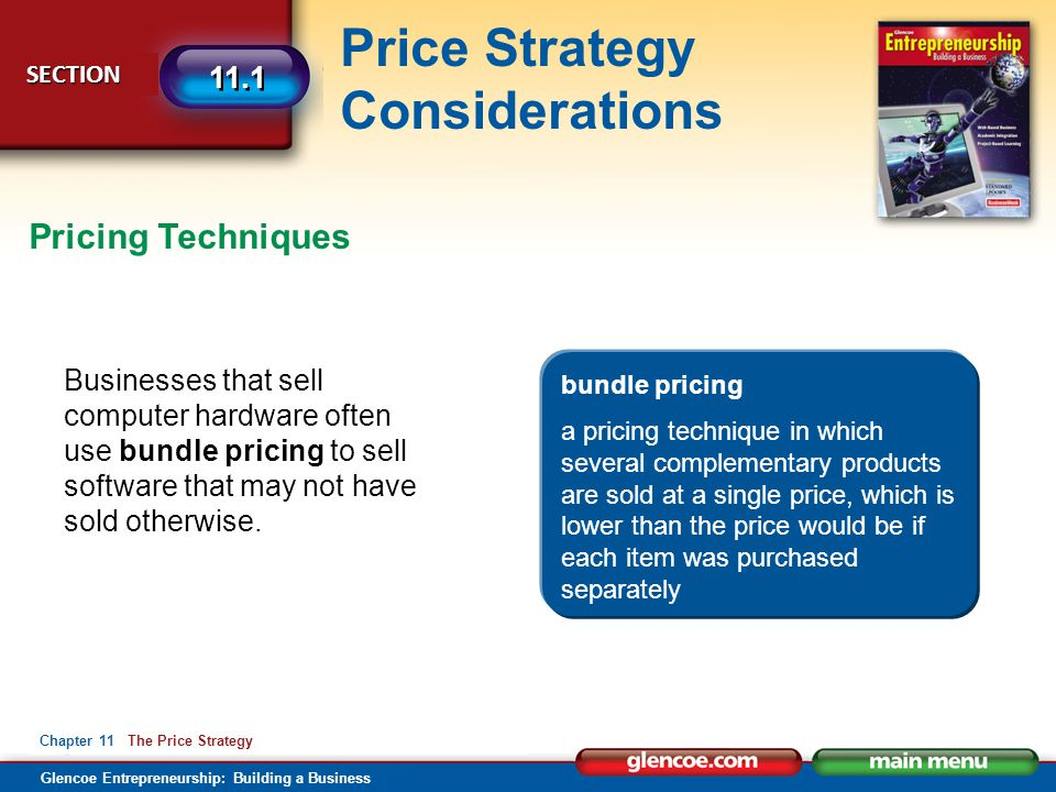 Pricing Techniques Businesses that sell computer hardware often use bundle pricing to sell software that may not have sold otherwise.