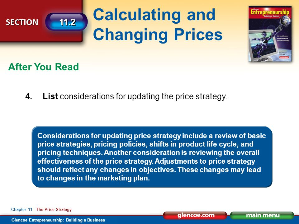 After You Read 4. List considerations for updating the price strategy.