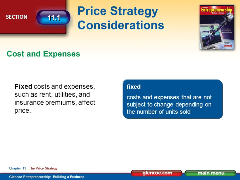 Cost and Expenses Fixed costs and expenses, such as rent, utilities, and insurance premiums, affect price.