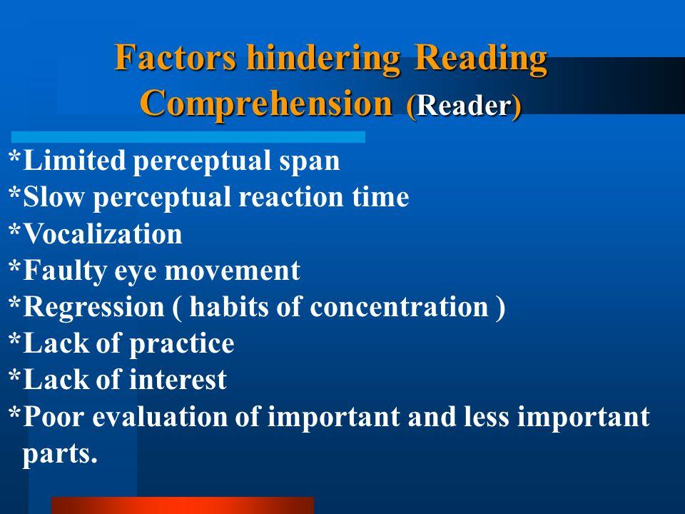 Factors hindering Reading Comprehension (Reader)