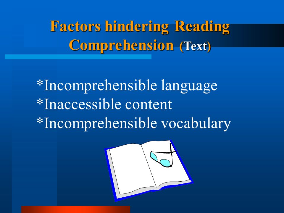 Factors hindering Reading Comprehension (Text)