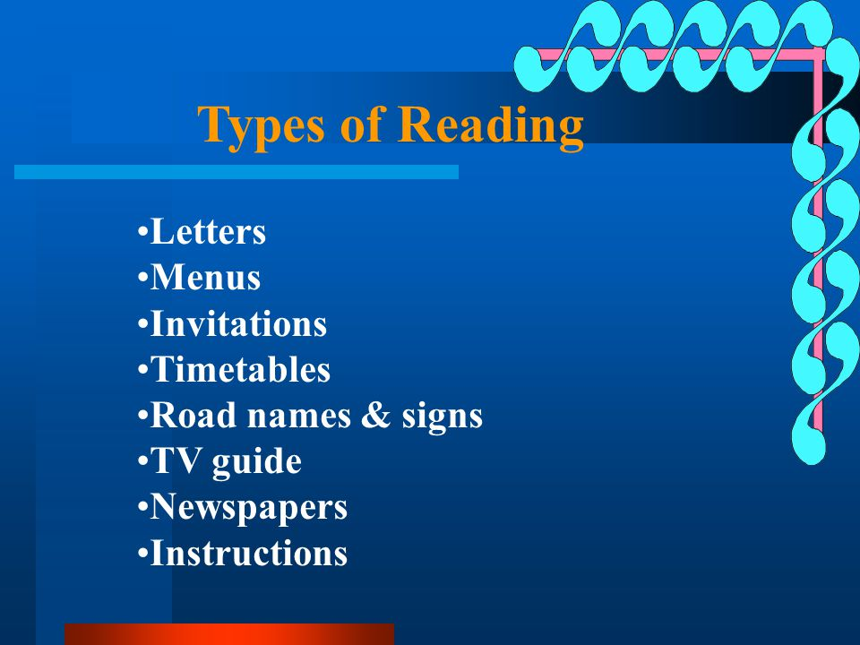 Types of Reading Letters Menus Invitations Timetables