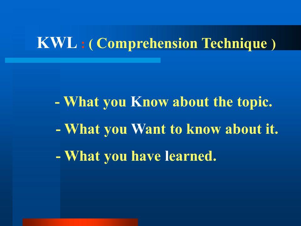 KWL : ( Comprehension Technique )