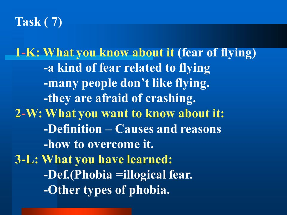 Task ( 7) 1-K: What you know about it (fear of flying) -a kind of fear related to flying. -many people don't like flying.