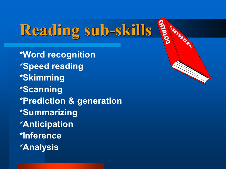 Reading sub-skills *Word recognition *Speed reading *Skimming