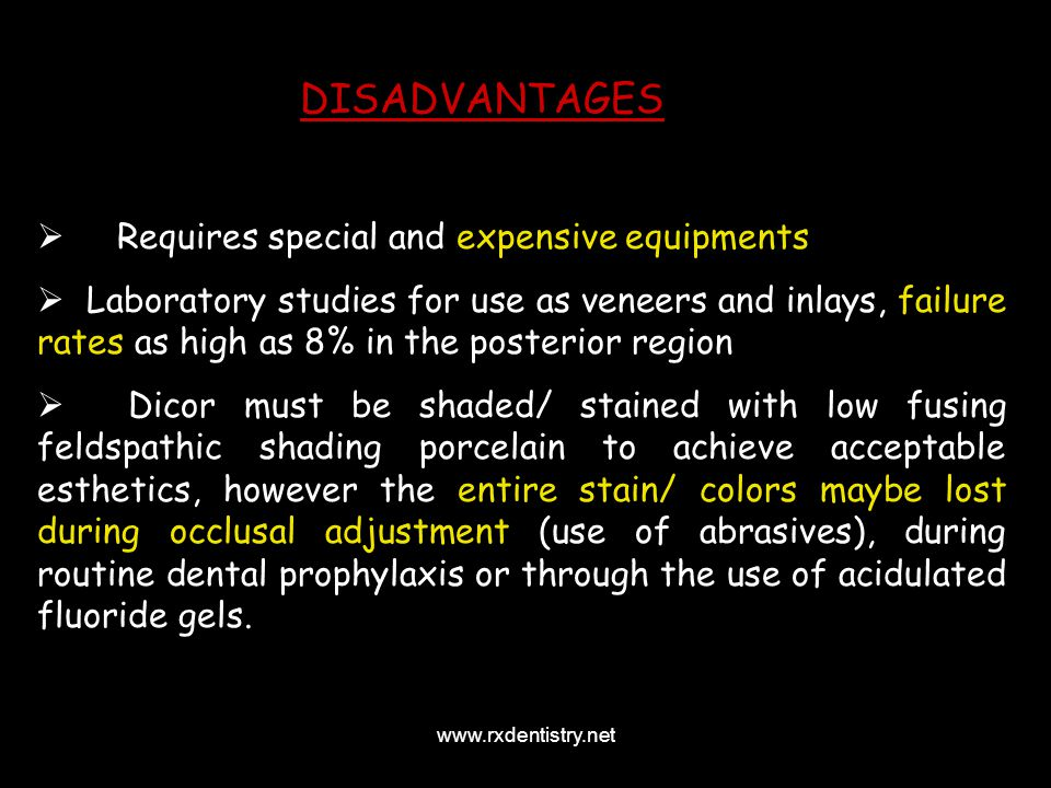 DISADVANTAGES Requires special and expensive equipments