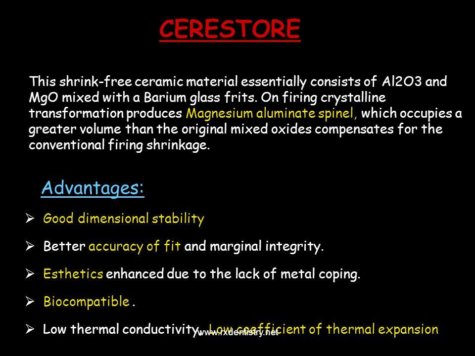 CERESTORE Advantages: