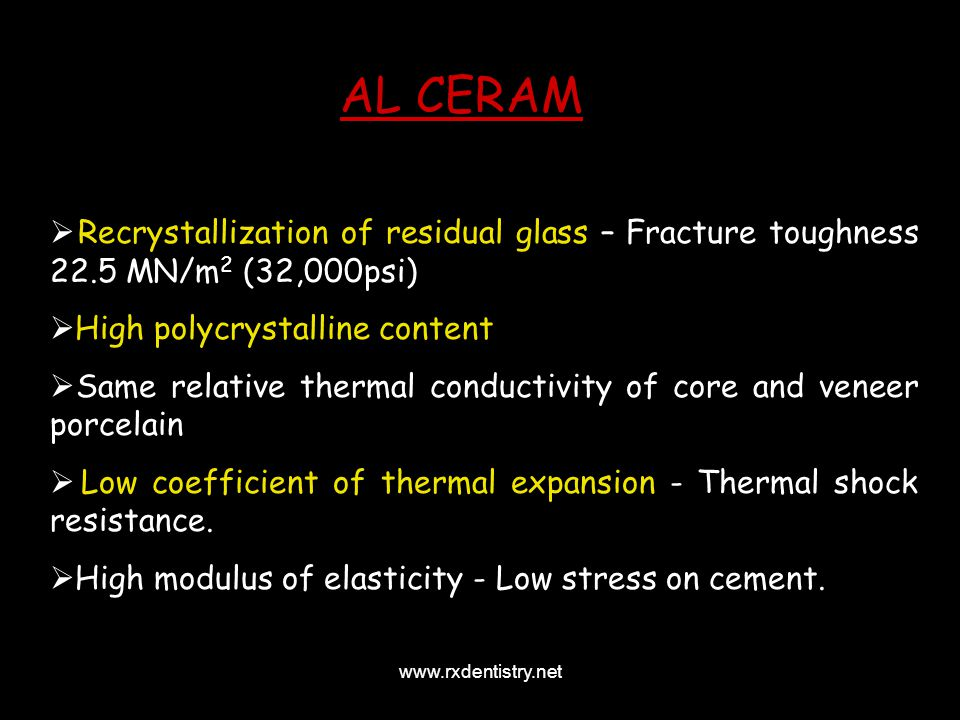 AL CERAM Recrystallization of residual glass – Fracture toughness 22.5 MN/m2 (32,000psi)