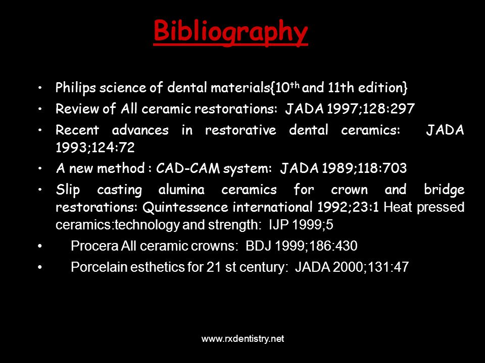 Bibliography Philips science of dental materials{10th and 11th edition} Review of All ceramic restorations: JADA 1997;128:297.