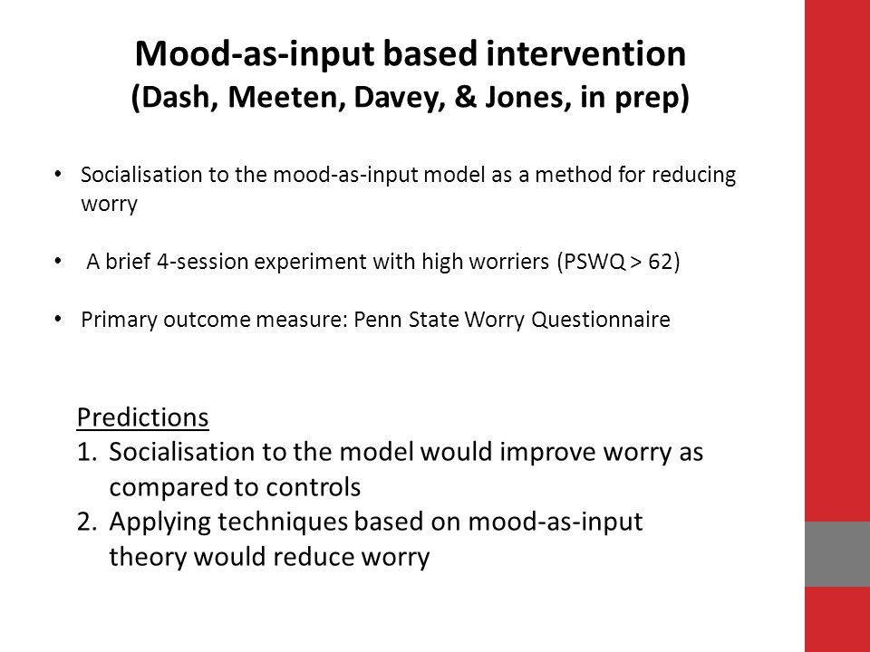 Mood-as-input based intervention
