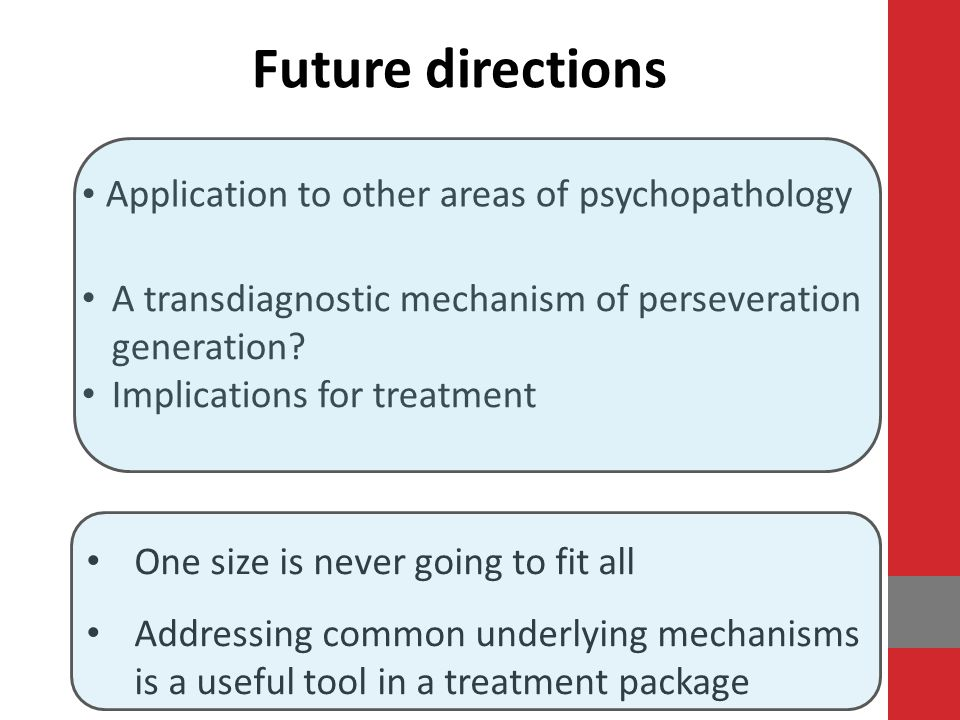 Future directions Application to other areas of psychopathology