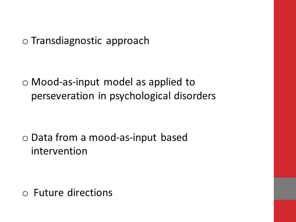 Transdiagnostic approach